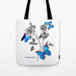 Morph Butterflies on Black and White Roses Tote Bag