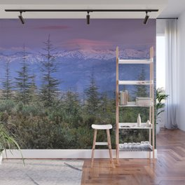 Sierra Nevada at sunset. Purple clouds Wall Mural