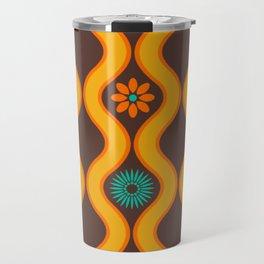 1970's Design Brown Orange Blue Travel Mug