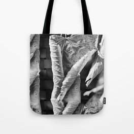 Large Black and White Curled Leaves and Geometric Tile Tote Bag