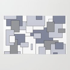 Squares - gray, purple and white. Rug