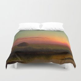 Pink Sunset over Scituate, Rhode Island Marches Landscape by Martin Johnson Heade Duvet Cover