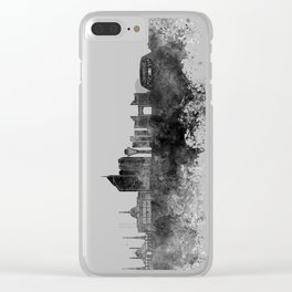 Astana skyline in black watercolor Clear iPhone Case