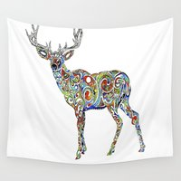 third eye Wall Tapestries featuring Third Eye Deer by Spirit Pervades Matter: Amanda Vela Art