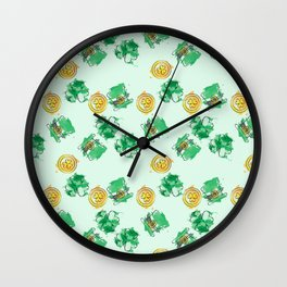 Luck Shamrock St. Patricks Day Pattern Wall Clock