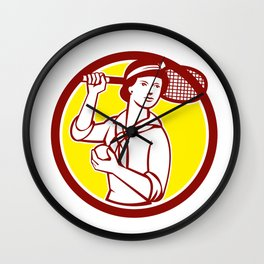 Female Tennis Player Racquet Vintage Circle Retro Wall Clock