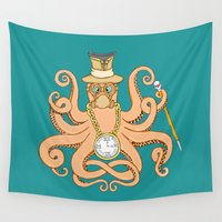 steam punk Wall Tapestries featuring Steam Punk Octopus by J&C Creations
