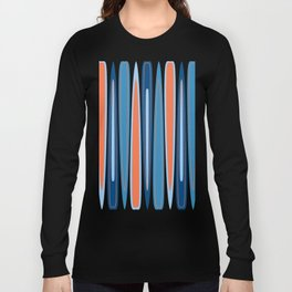 Mid Century Modern Vintage Inspired Stripes in Classic Blues and Muted Orange Long Sleeve T-shirt