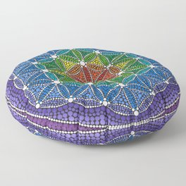 Rainbow Happy Flower of Life Floor Pillow