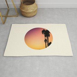 Palm Tree Silhouette & Orange Purple Sunset Rug