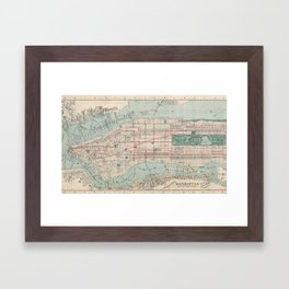 New York City, Manhattan, Vintage Map Framed Art Print