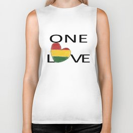 One Love Rasta Rastafari Reggae Heart Biker Tank