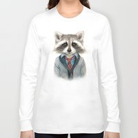 raccoon Long Sleeve T-shirts featuring Raccoon by Leslie Evans