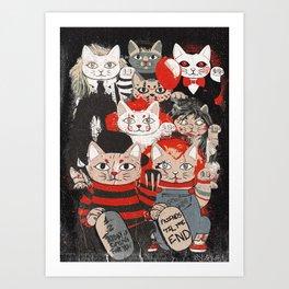 Horror Maneki Neko Vintage Gang Halloween Party 2019 T-Shirt Art Print