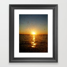 Sunset Glass Water Drops Color Photo Framed Art Print