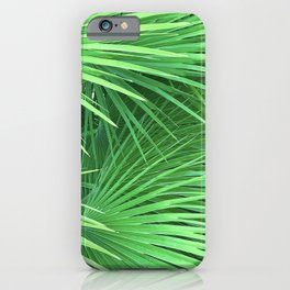 Jungle Tropical Palm Leaves in Vibrant Lush Greens iPhone Case