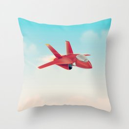 Red Jet fighter plane Throw Pillow