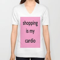shopping V-neck T-shirts featuring SHOPPING by I Love Decor