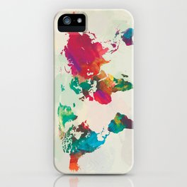 Watercolor World Map iPhone Case