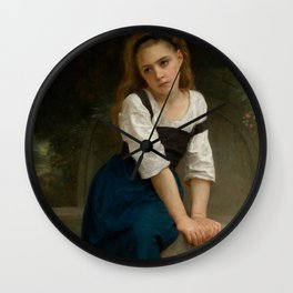 """William-Adolphe Bouguereau """"Orpheline à la fontaine ( Orphan at the fountain)"""" Wall Clock"""