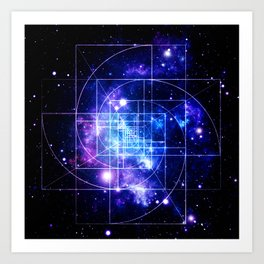 Galaxy sacred geometry Golden Mean Deep Blue Art Print