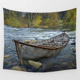 Canoe on the Thornapple River in Autumn Wall Tapestry