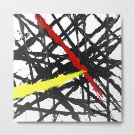 Abstract Red, Black and Yellow Metal Print