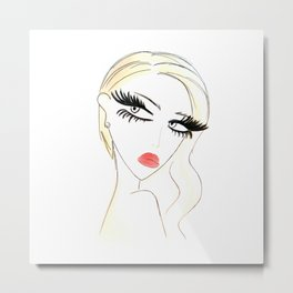 Red Lips Blondy Metal Print