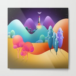 Lift Off To The Moon Alice Metal Print
