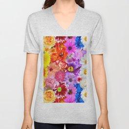 Rainbow Digital Floral Unisex V-Neck