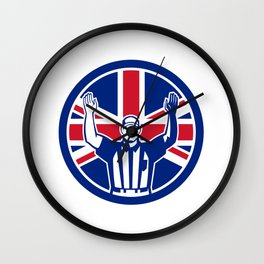 British American Football Referee Union Jack Flag Icon Wall Clock