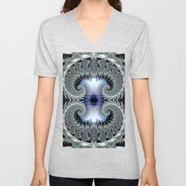 Lace Spirals Periwinkle Unisex V-Neck
