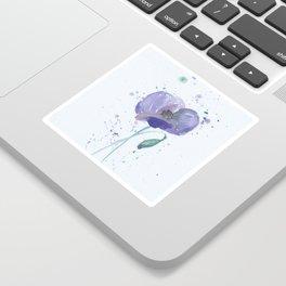 Blue Poppy flower illustration painting in watercolor Sticker