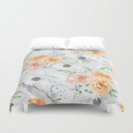 Beautiful Pastel Flowers on Marble Duvet Cover