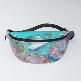Rainbow Sea Dragon - Abstract Acrylic Art by Fluid Nature Fanny Pack