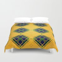 yellow pattern Duvet Covers featuring Yellow by Raluca Ag