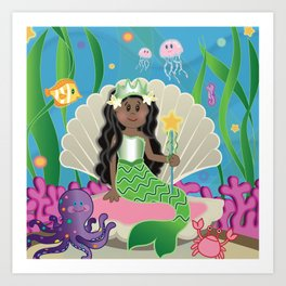 Cute Mermaid on Throne and Sea Friends  by Beebus Marble coral, ocean, octopus, jelly fish Art Print