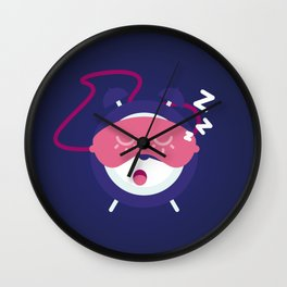 Sleeping alarm. Mask for sleep is dressed on an alarm clock. Wall Clock