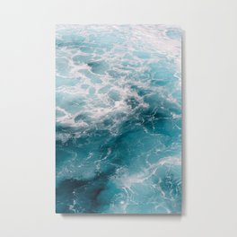 Foamy crystal clear, deep blue sea water | Travel photography from Greece | Natural surface pattern.  Metal Print