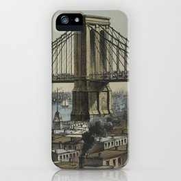 Vintage Brooklyn Bridge Illustration (1872) iPhone Case