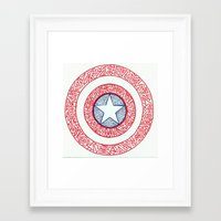 superheros Framed Art Prints featuring The Shield by Katie Kephart