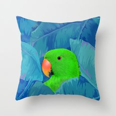 Parrot with banana leaves Throw Pillow