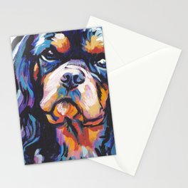 black and tan Cavalier King Charles Spaniel Dog Portrait Pop Art painting by Lea Stationery Cards