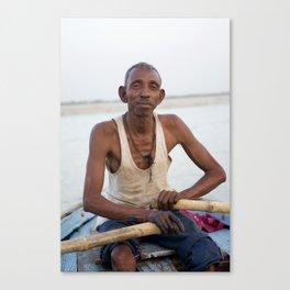 Man on Boat, Varanasi, India Canvas Print