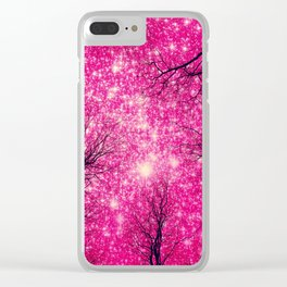 Black Trees Coral Pink Space Clear iPhone Case