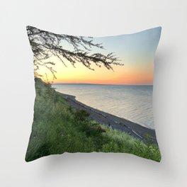 Orange Sunrise Carleton-sur-Mer Throw Pillow