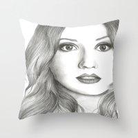 karen hallion Throw Pillows featuring Karen Gillan Portrait by livigrace16