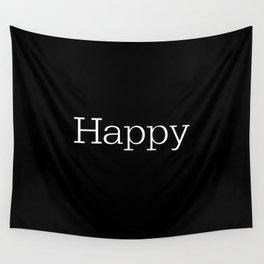HAPPY! Black & White Wall Tapestry