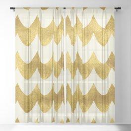 Cream Gold Foil 04 Sheer Curtain