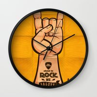 rock and roll Wall Clocks featuring Rock & Roll by Rodrigo Molina